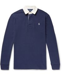 Polo Ralph Lauren - Contrast-trimmed Cotton-jersey Polo Shirt - Lyst