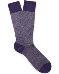 Pantherella - Fabian Herringbone Cotton-blend Socks - Lyst