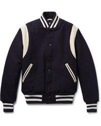 Golden Bear - Leather-panelled Virgin Wool-blend Bomber Jacket - Lyst