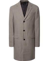 Lanvin - Taupe Houndstooth Wool Coat - Lyst