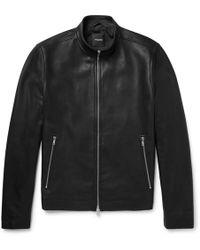 Theory - Morvek Café Racer Leather Jacket - Lyst