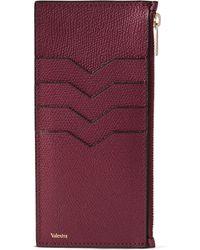 Valextra - Pebble-grain Leather Zipped Cardholder - Lyst
