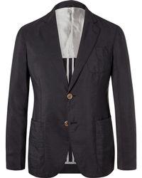Giorgio Armani - Navy Upton Unstructured Silk-blend Blazer - Lyst