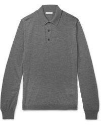 Boglioli - Slim-fit Mélange Virgin Wool Polo Shirt - Lyst