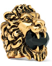 Gucci - Lion's Head Burnished Gold-tone Swarovski Crystal Ring - Lyst