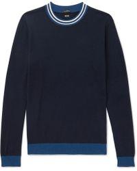 BOSS - Talvino Slim-fit Stripe-trimmed Cotton Jumper - Lyst