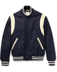 5bcf085b8850 Golden Bear - Leather-panelled Virgin Wool-blend Bomber Jacket - Lyst