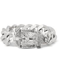 Gucci - Engraved Sterling Silver Bracelet - Lyst