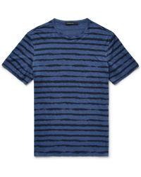 Ermenegildo Zegna - Striped Linen-jersey T-shirt - Lyst