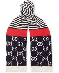 Gucci - Logo-intarsia Striped Cotton Scarf - Lyst
