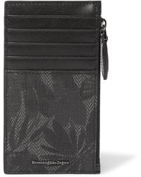 Ermenegildo Zegna - Printed Smooth And Textured-leather Zipped Cardholder - Lyst
