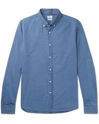 Brunello Cucinelli - Button-down Collar Cotton-chambray Shirt - Lyst