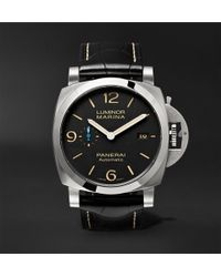 Officine Panerai - Luminor Marina 1950 3 Days Acciaio 44mm Stainless Steel And Alligator Watch - Lyst