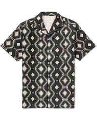 Officine Generale - Dario Camp-collar Printed Linen And Cotton-blend Shirt - Lyst