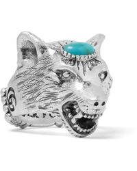 Gucci - Wolf's Head Silver-tone Turquoise Ring - Lyst