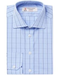 Turnbull & Asser - Light-blue Slim-fit Cutaway-collar Checked Cotton-poplin Shirt - Lyst