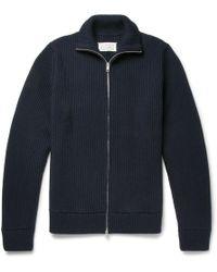 Maison Margiela - Ribbed Virgin Wool Zip-up Cardigan - Lyst