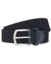 Andersons - 3.5cm Navy Leather-trimmed Woven Elastic Belt - Lyst