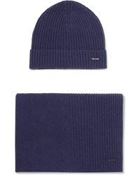 BOSS - Ribbed Cashmere Beanie And Scarf Set - Lyst