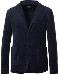 Giorgio Armani - Navy Slim-fit Unstructured Cotton-blend Terry Blazer - Lyst