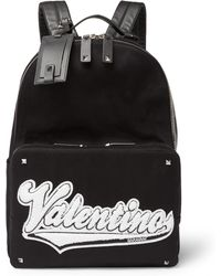 Valentino   Rookie Leather-trimmed Appliquéd Canvas Backpack   Lyst