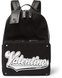 Valentino | Rookie Leather-trimmed Appliquéd Canvas Backpack | Lyst