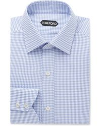 Tom Ford - Blue Slim-fit Puppytooth Cotton Shirt - Lyst
