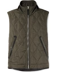 be48ff1155 Tom Ford - Leather-trimmed Quilted Nylon Gilet - Lyst