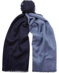 Johnstons - Reversible Fringed Cashmere Scarf - Lyst
