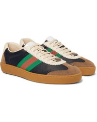 026e97c78 Gucci - Jbg Webbing-trimmed Leather And Suede Trainers - Lyst