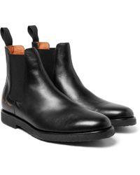 Common Projects - Saffiano Leather Chelsea Boots - Lyst