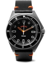 Bamford Watch Department - Mayfair Brushed Stainless Steel And Leather Watch - Lyst