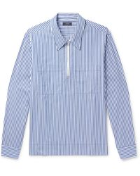 Joseph | Gilroy Striped Cotton-poplin Zip-up Half-placket Shirt | Lyst