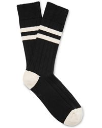 The Workers Club - Varsity-striped Combed Cotton-blend Socks - Lyst