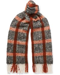 MR P. - Fringed Checked Textured-knit Scarf - Lyst