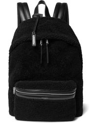 Saint Laurent - City Leather-trimmed Fleece And Canvas Backpack - Lyst