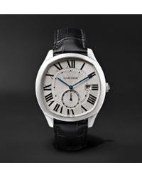 Cartier - Drive De Automatic 41mm Steel And Alligator Watch - Lyst