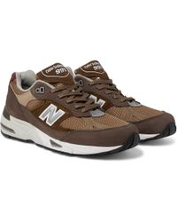 New Balance - 991 Leather-trimmed Nubuck, Suede And Mesh Sneakers - Lyst