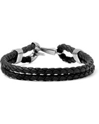 Bottega Veneta - Intrecciato Leather And Burnished Silver-tone Bracelet - Lyst