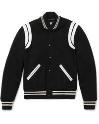 Saint Laurent | Leather-trimmed Wool-blend Bomber Jacket | Lyst