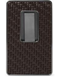 Ermenegildo Zegna - Pelle Tessuta Leather And Silver-tone Business Card Case - Lyst
