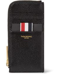 Thom Browne - Pebble-grain Leather Zip-around Cardholder - Lyst