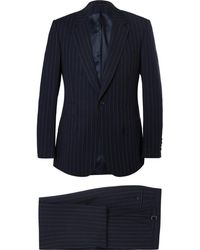 Kingsman - Navy Slim-fit Single-breasted Pinstriped Cotton Suit - Lyst