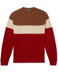 Loro Piana - Striped Honeycomb-knit Baby Cashmere Sweater - Lyst