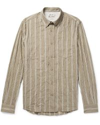 Acne Studios - Isherwood Button-down Collar Crinkled Cotton-blend Shirt - Lyst