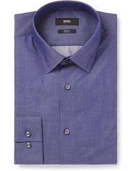 BOSS - Blue Isko Slim-fit Stretch-cotton Chambray Shirt - Lyst