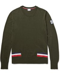 Moncler Gamme Bleu - Stripe-trimmed Cotton Jumper - Lyst