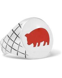 Bottega Veneta - Year Of The Pig Sterling Silver And Enamel Signet Ring - Lyst