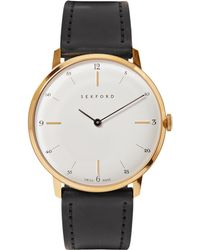 Sekford - Type 1a Gold-tone And Cordovan Leather Watch - Lyst