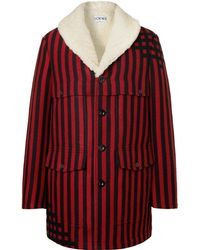Loewe - Shearling-lined Striped Wool And Silk-blend Jacquard Coat - Lyst